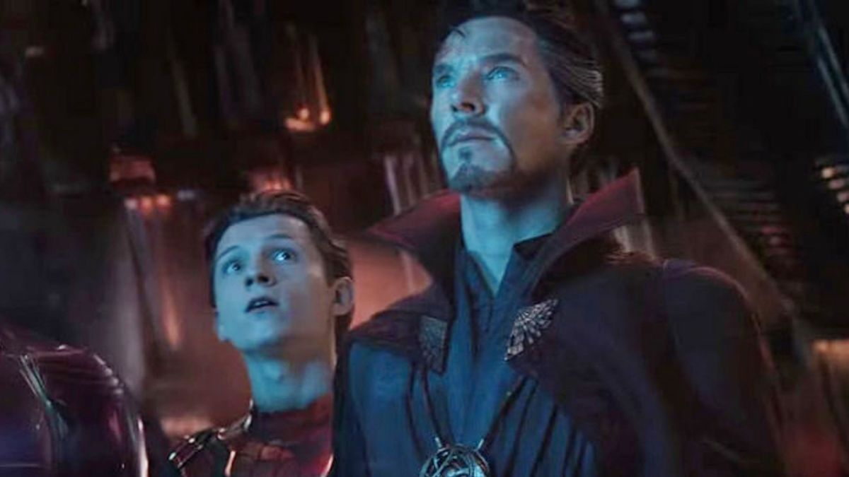 photo of tom holland as spidermam and benedict cumberbatch as doctor strange